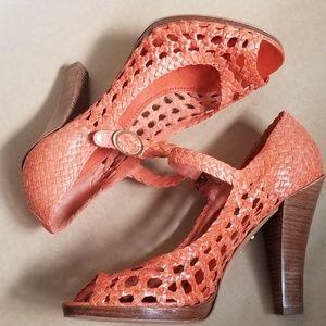 Bcbgmaxazria  woven leather peep toe stacked heels
